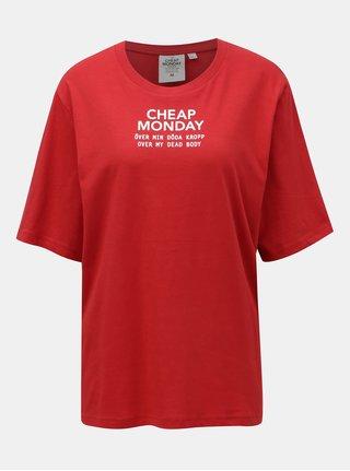 Červené tričko s potlačou Cheap Monday
