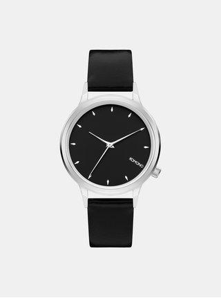 Dámske hodinky s čiernym koženým remienkom Komono Lexi