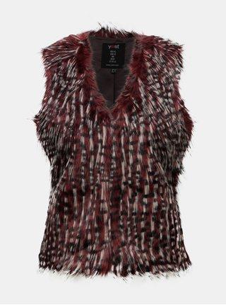 Krémovo-vínová vesta z umělého kožíšku Yest