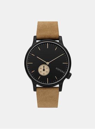 Pánske hodinky so svetlohnedým koženým remienkom Komono Winston Subs