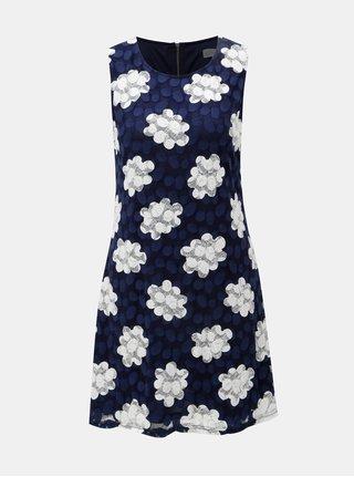 Tmavomodré čipkované sieťované šaty Apricot