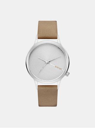Dámske hodinky s béžovým koženým remienkom Komono Lexo Deco