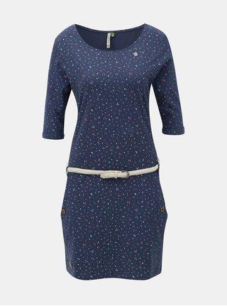 Tmavomodré vzorované šaty s vreckami Ragwear Tanya Organic