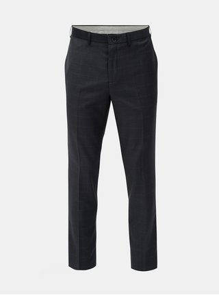 Tmavě modré skinny fit kostkované kalhoty s příměsí vlny Burton Menswear London