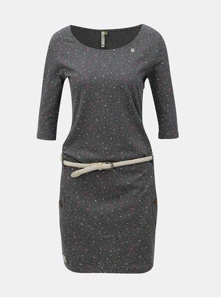 Sivé melírované vzorované šaty s vreckami Ragwear Tanya Organic