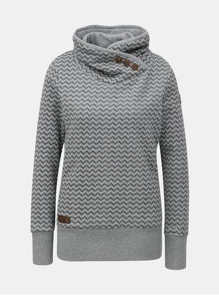 Bluza de dama sport negru-gri cu model si guler inalt Ragwear