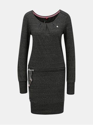 Tmavosivé melírované šaty s dlhým rukávom a zaväzovaním Ragwear