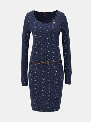 Modré vzorované šaty s páskem Ragwear