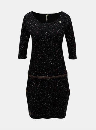 Černé vzorované šaty s páskem Ragwear