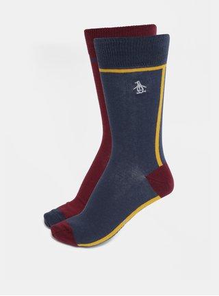 Sada dvou párů ponožek v modré a vínové barvě Original Penguin