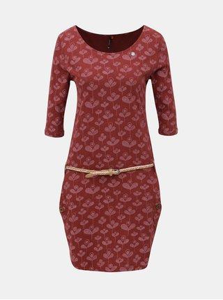 Vínové vzorované šaty s páskem a kapsami Ragwear Tanya