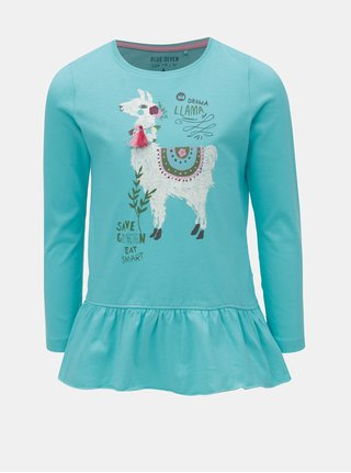 Tyrkysové dievčenské tričko s potlačou lamy Blue Seven