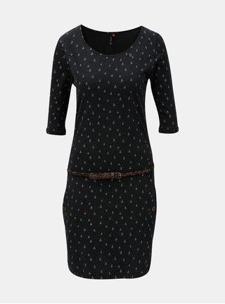 Tmavosivé vzorované šaty s vreckami a 3/4 rukávom Ragwear Tanya