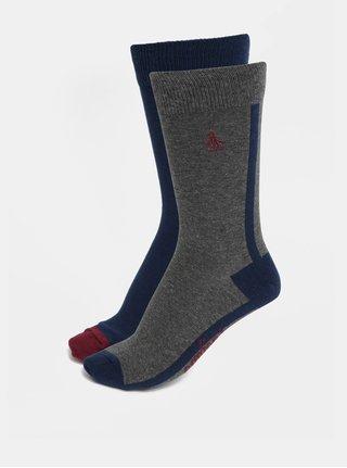 Sada dvou párů ponožek v modré a šedé barvě Original Penguin