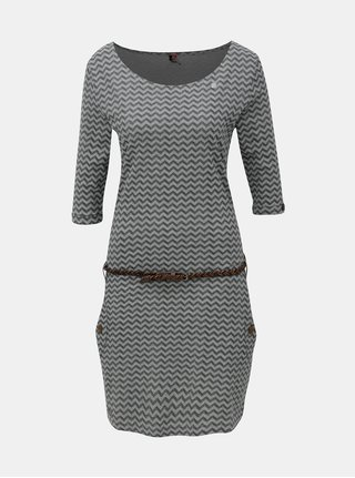 Rochie negru-gri cu model si maneci 3/4 Ragwear Tanya Zig Zag