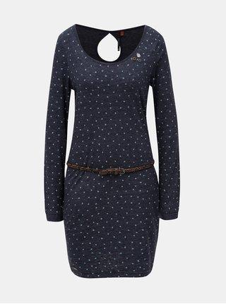 Tmavomodré melírované šaty s dlhým rukávom a opaskom Ragwear