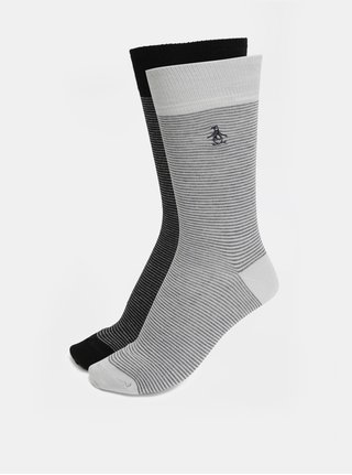 Sada dvou párů pruhovaných ponožek v šedé a černé barvě Original Penguin