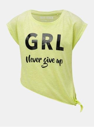 Neónovozelené dievčenské asymetrické tričko Blue Seven