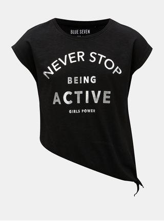 Čierne dievčenské asymetrické tričko Blue Seven