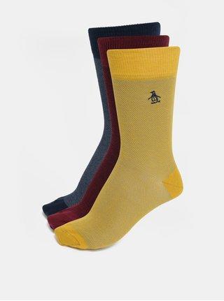 Sada tří párů ponožek v modré, žluté a vínové barvě Original Penguin