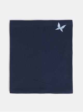Fular circular albastru inchis cu broderie de fluture Kari Traa
