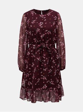 Vínové květované šaty VERO MODA Maya