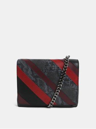 Červeno–čierna kožená kabelka so vzorom BREE Issia 6