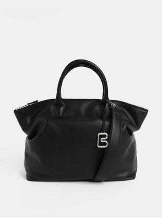 Čierna veľká kožená kabelka do ruky BREE Stockholm 37