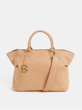 Béžová velká kožená kabelka do ruky BREE Stockholm 37