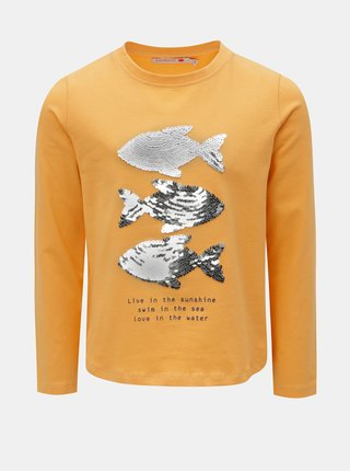 Horčicové dievčenské tričko s flitrami BÓBOLI