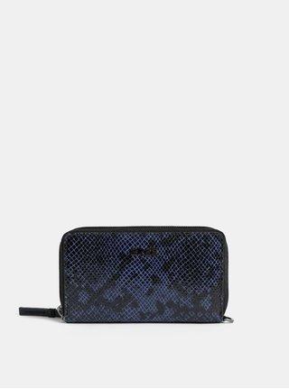 Modro–čierna kožená malá peňaženka BREE Issy 134