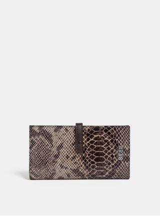 Hnedá kožená vzorovaná peňaženka BREE Issy 136