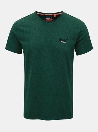 Zelené pánské žíhané tričko s výšivkou Superdry