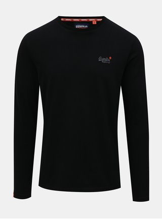 Tricou barbatesc negru cu maneci lungi si broderie Superdry