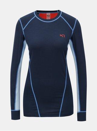 Tmavě modré funkční tričko s příměsí vlny Kari Traa
