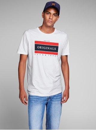 Bílé tričko s potiskem Jack & Jones Down Tee