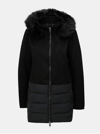 Černý dámský vlněný kabát s kapucí a umělým kožíškem Superdry