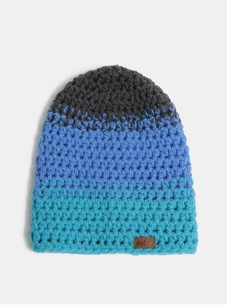 Caciula de iarna gri-albastru impletita DOKE