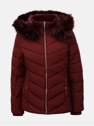 Vínová zimní prošívaná bunda s umělým odnímatelným kožíškem Miss Selfridge