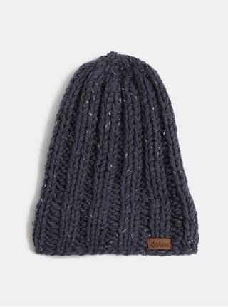 Tmavomodrá pletená zimná čiapka DOKE