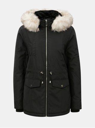 Černá zimní parka s odnímatelným umělým kožíškem Miss Selfridge e154c2c6f50