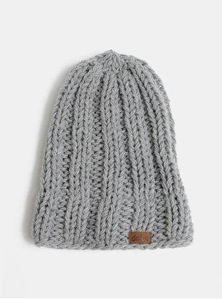 Svetlosivá pletená zimná čiapka DOKE
