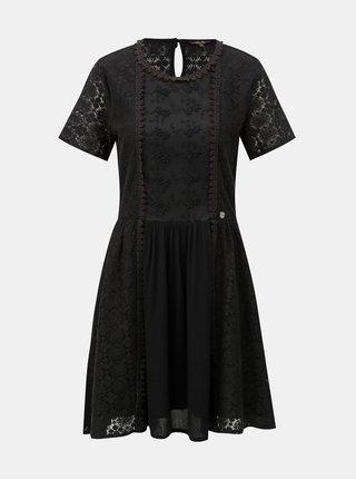 Černé šaty s krajkou Superdry