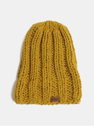 Horčicová pletená zimná čiapka DOKE
