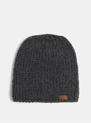 Tmavosivá pletená zimná čiapka DOKE