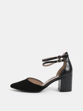 Sandale negre cu model si varf din piele intoarsa Dorothy Perkins