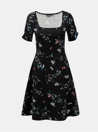 Čierne kvetované šaty s okrúhlym výstrihom Dorothy Perkins Tall