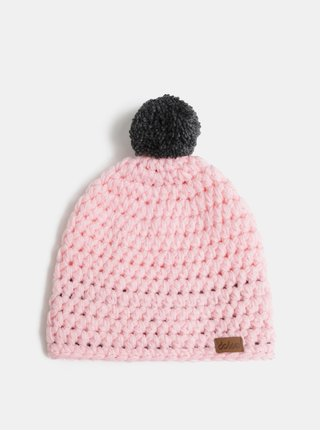 Svetloružová pletená zimná čiapka s brmbolcom DOKE