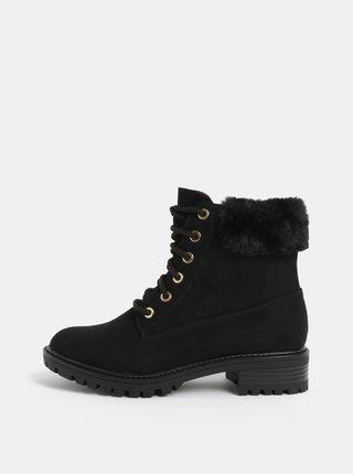 8b032b85882 Černé kotníkové boty s umělým kožíškem v semišové úpravě Dorothy Perkins
