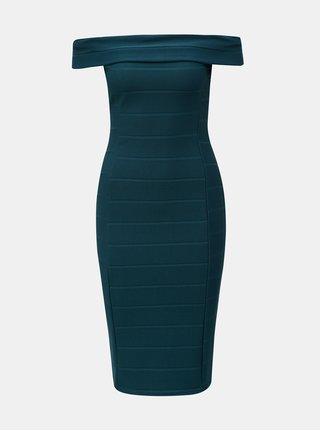 Petrolejové žebrované šaty s odhalenými rameny Dorothy Perkins